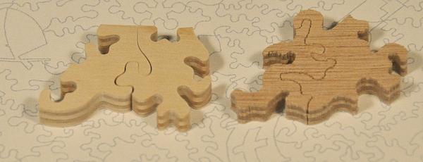 Puzzle wycięte waterjetem, widok odgóry izdołu